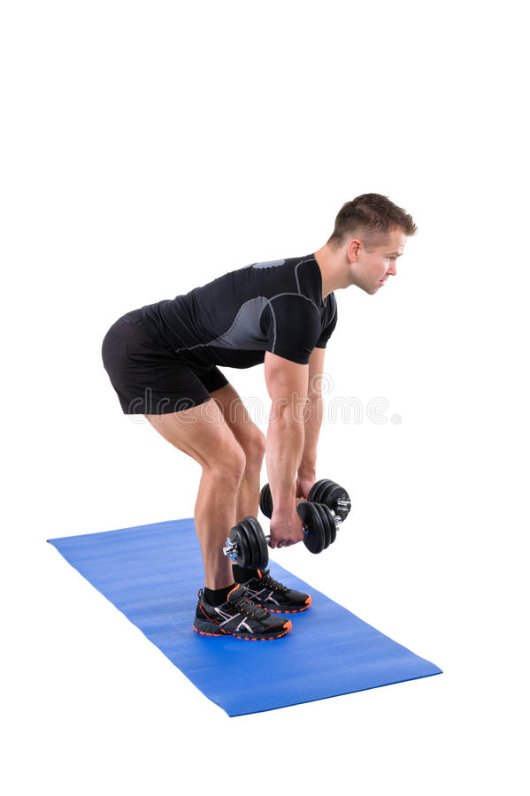 Free Standing Bent Over Dumbbells Row Workout Royalty Free Stock Photos - 61964498
