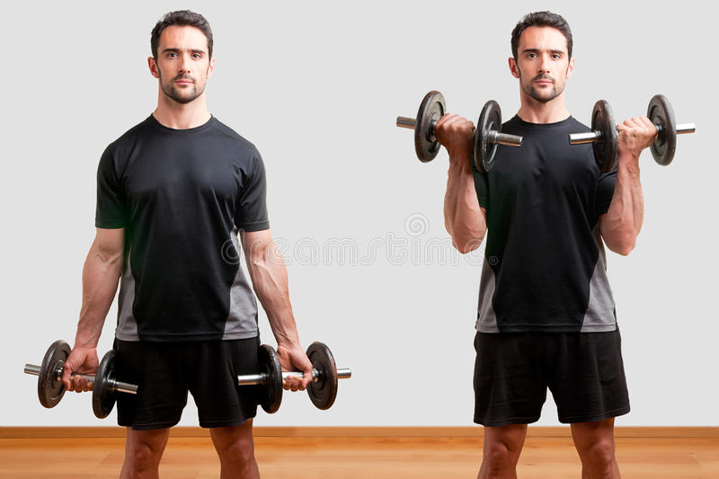 Download Standing Bicep Dumbbell Curl Stock Image - Image: 31197513