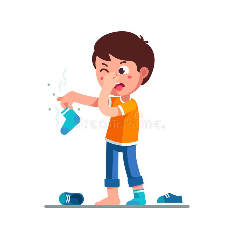 Standing boy holding dirty smelling sock in hand. Standing boy kid holding dirty smelling sock in hand closing nose and taking out tongue in yuck face expression royalty free illustration