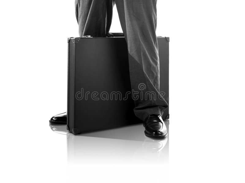 Standing With A Briefcase (with Clipping Path) Royalty Free Stock Image