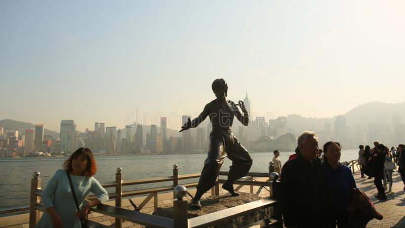 Hong Kong, China - January 1, 2016: Standing Bruce Lee on the Avenue of the Stars. The statue is one of the main stock image