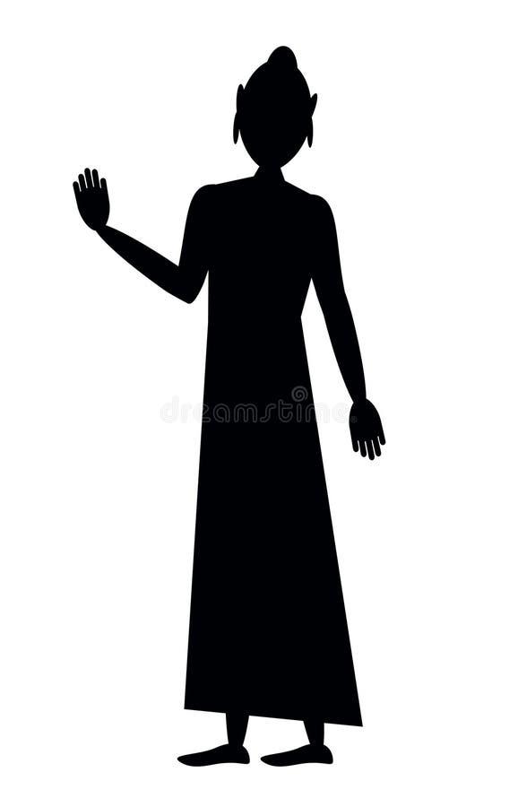 Standing Buddha with Abhaya Mudra stock illustration
