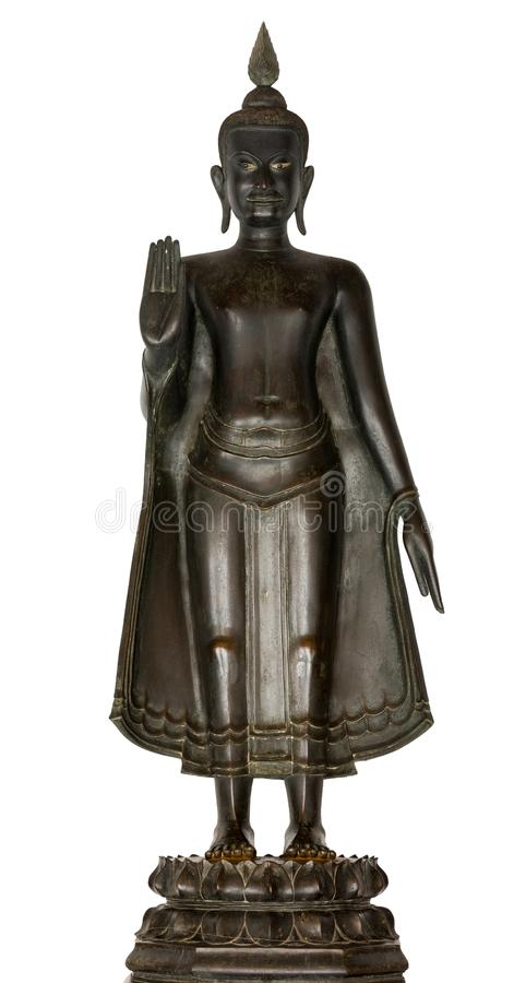 A Standing Buddha image in the attitude of for bidding his relative to fight one another Buddha image used as amulets of Buddhism. Religion with clipping path royalty free stock photo