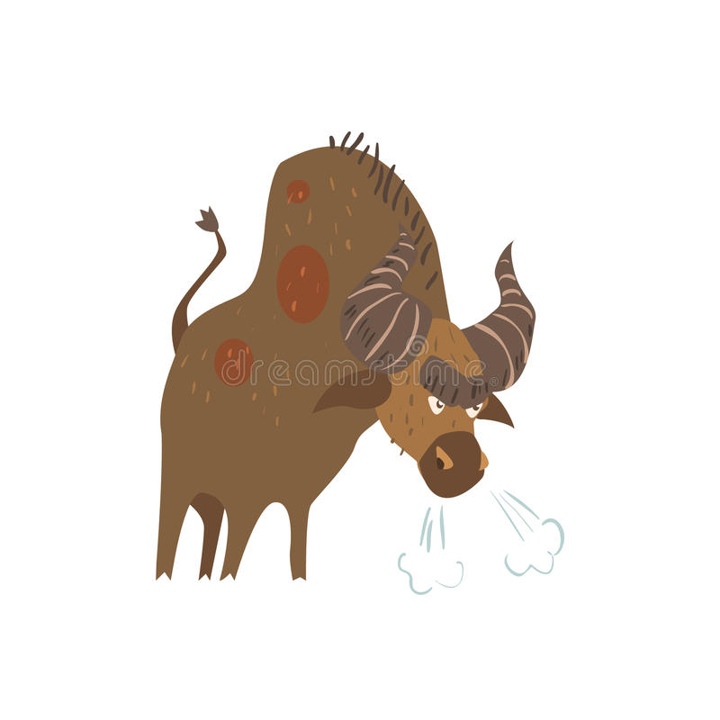 Standing Bull Flat Cartoon Stylized royalty free illustration