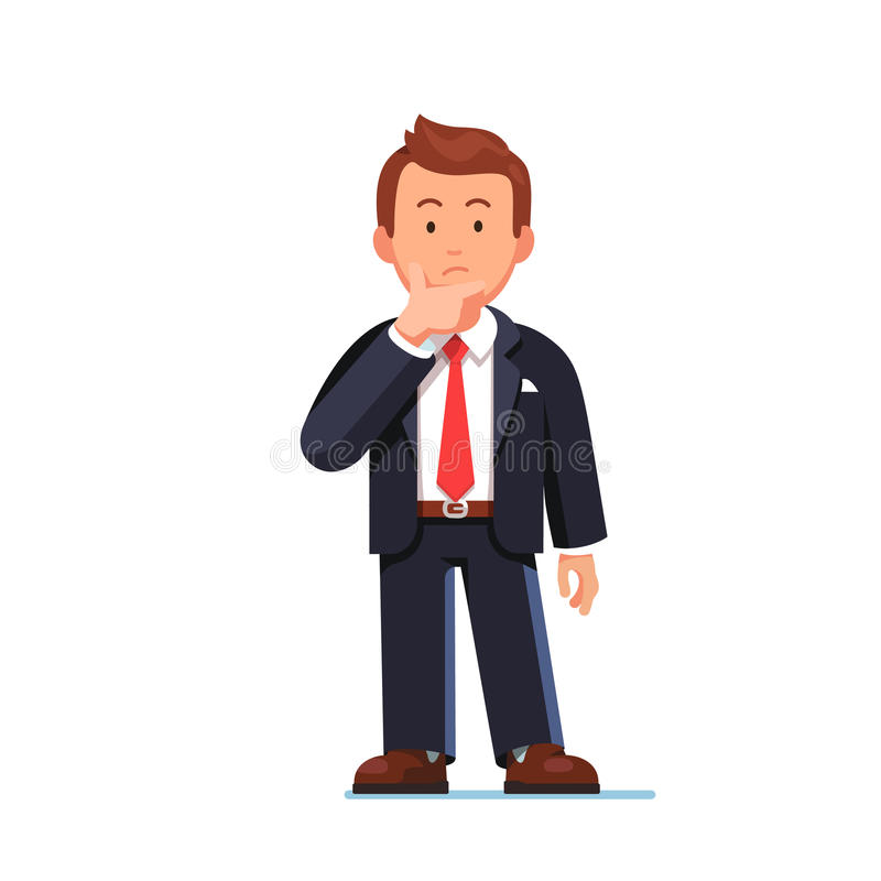 Standing business man making thinking gesture royalty free illustration
