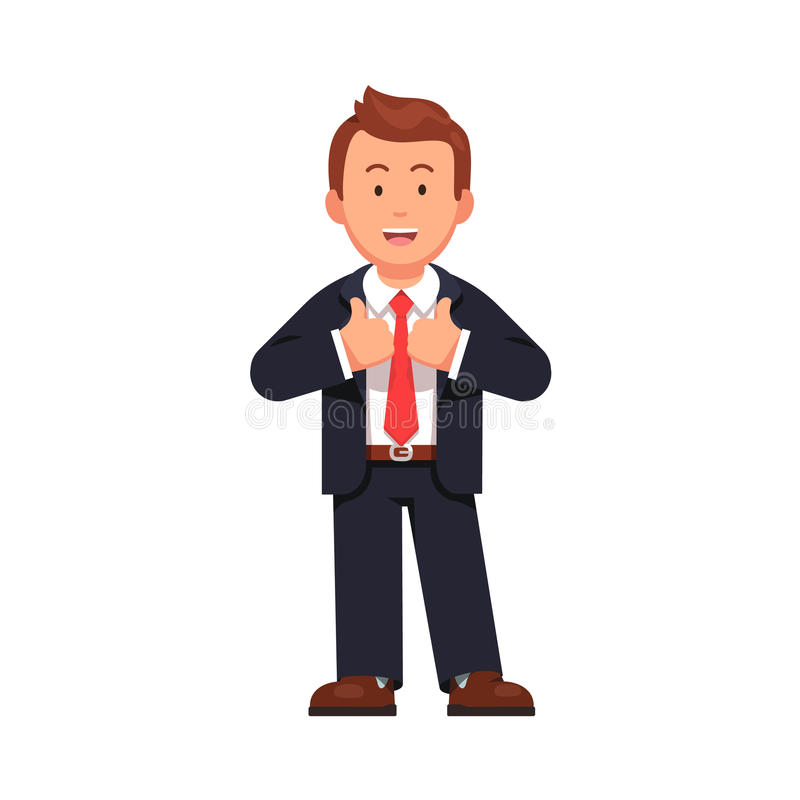 Standing business man showing thumbs up gesture vector illustration