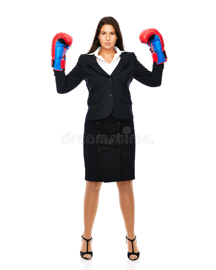 Standing business woman boxing. Business woman wearing boxing gloves, Is ready for the fight. Isolated on a white background stock images