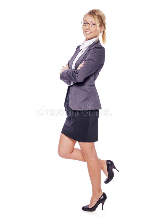Standing business woman stock photo