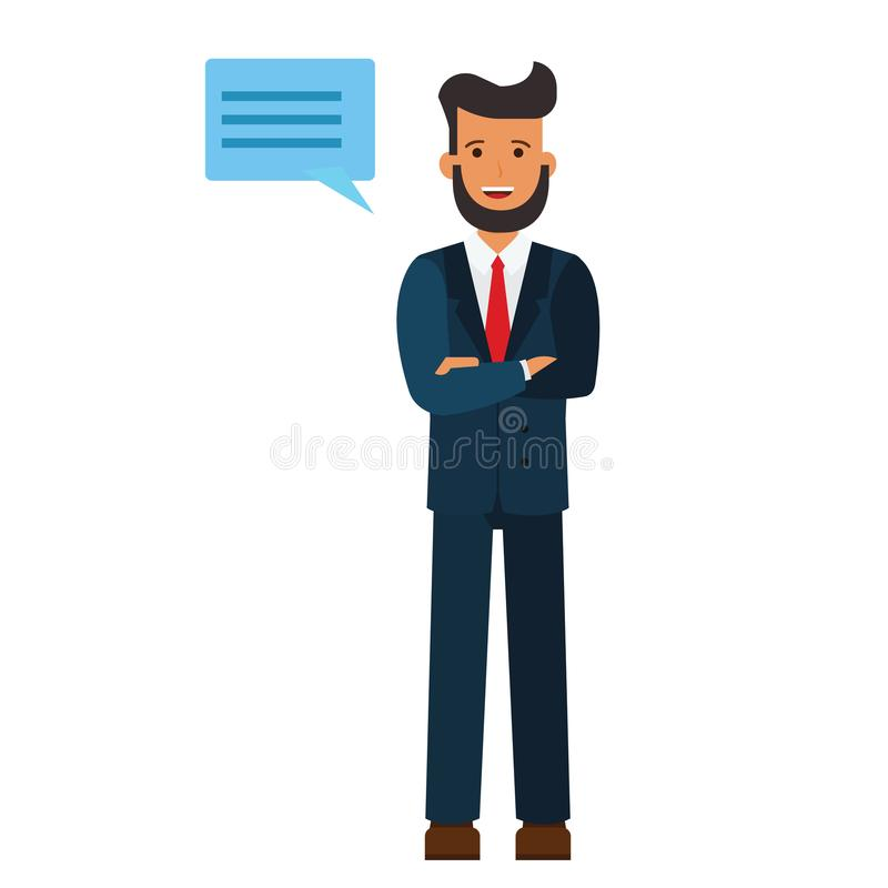 Standing businessman with cross arms cartoon flat vector illustration concept on isolated white background vector illustration