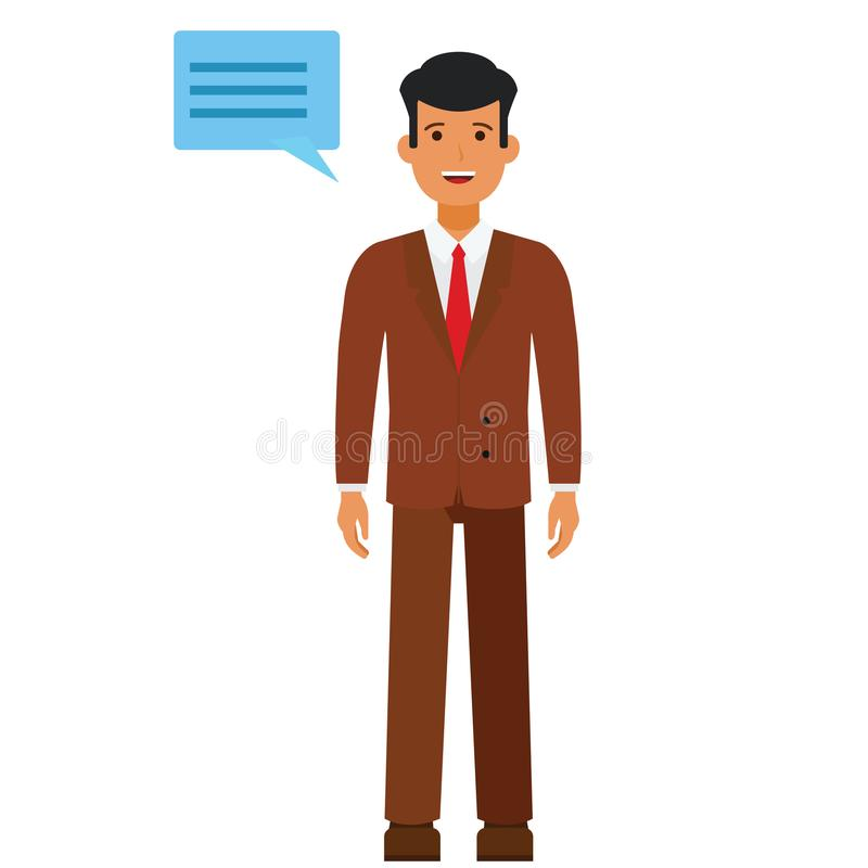 Standing businessman with speech cartoon flat vector illustration concept on isolated white background vector illustration