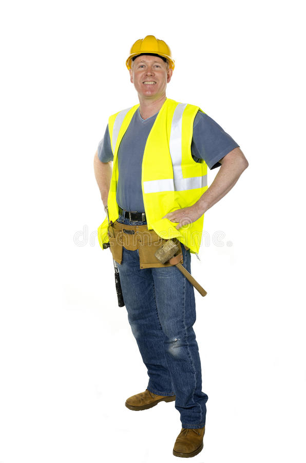 Standing confident construction worker royalty free stock photography