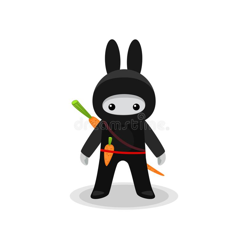 Standing cute bunny ninja isolated with carrot on white background vector illustration