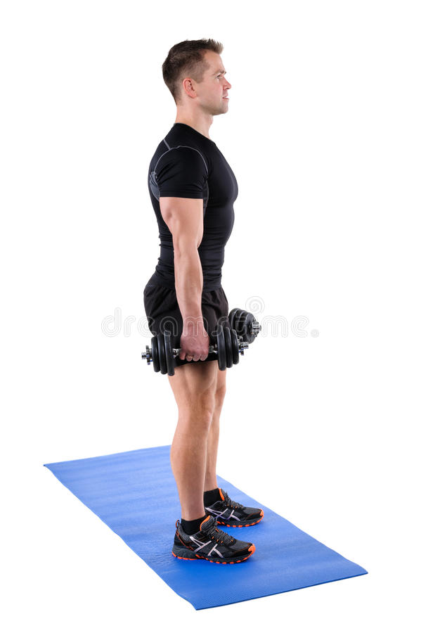 Free Standing Dumbbell Calf Raise Or Squats Workout Royalty Free Stock Photos - 61964488