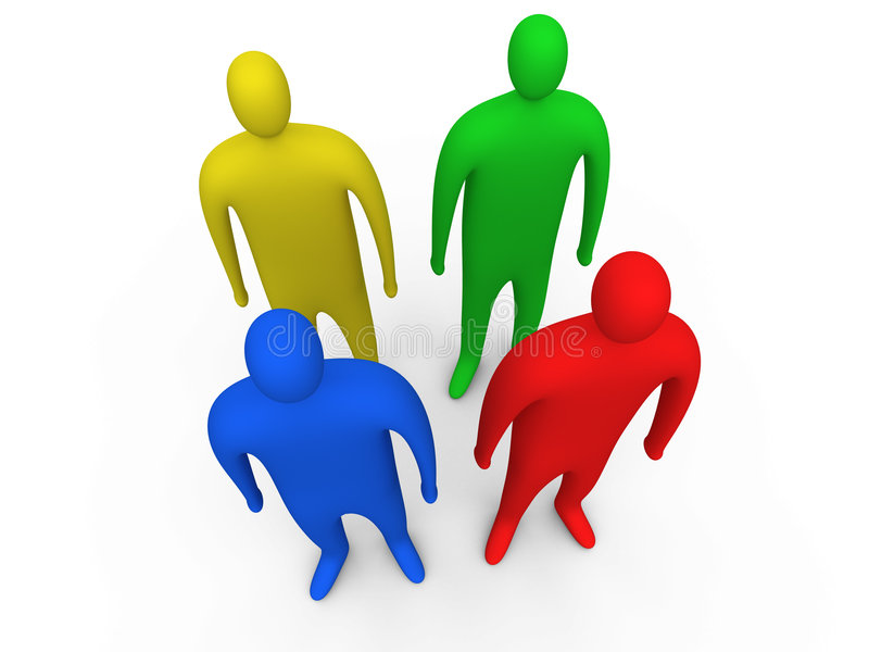 standing för 3 folk 3d vektor illustrationer