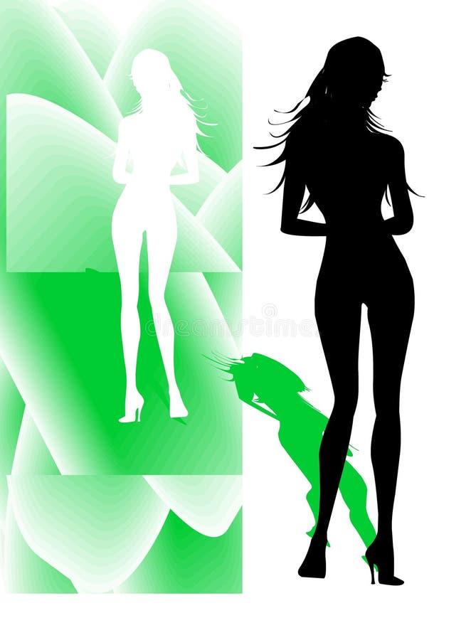 standing för trevlig silhouette för flicka sportig stock illustrationer