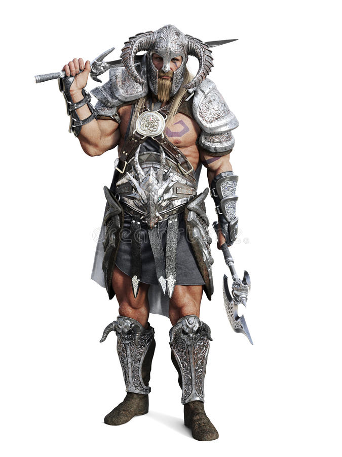 Standing fierce armored barbarian warrior posing on an isolated white background. 3d rendering illustration royalty free illustration