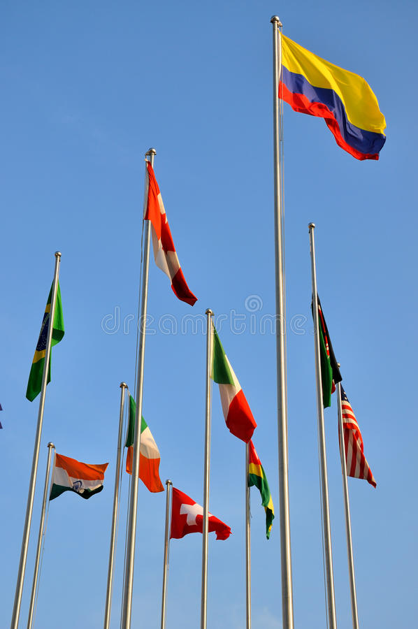 Standing flags of different countries