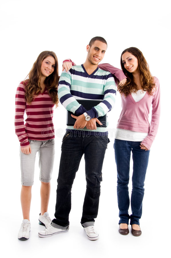 Standing friends looking at camera. On an isolated white background stock photography