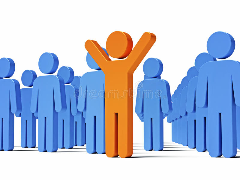 Download Standing In Front Of The Crowd. 3d Render Scene. Stock Illustration - Image: 12600466