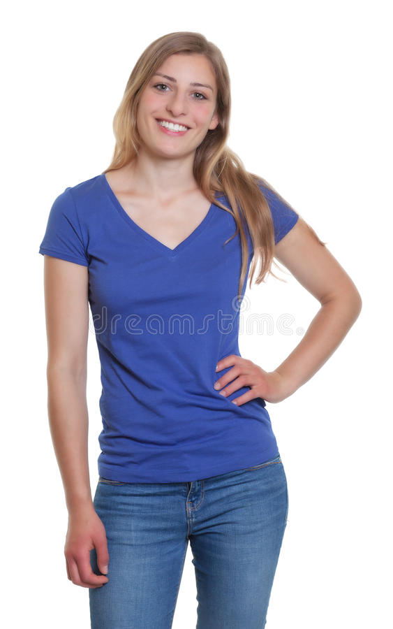 Standing german woman in a blue shirt looking at camera. On an isolated white background for cut out royalty free stock photo