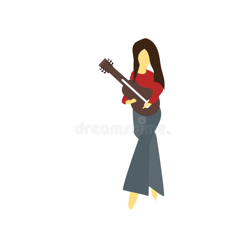 Standing girl playing guitar vector vector sign and symbol isolated on white background, Standing girl playing guitar vector logo stock illustration