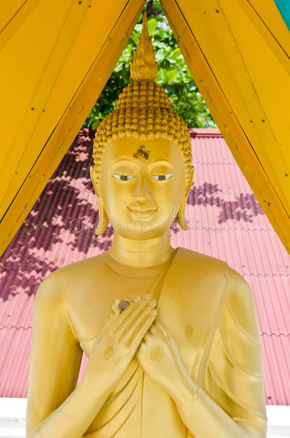 Standing golden buddha. Thailand royalty free stock photos