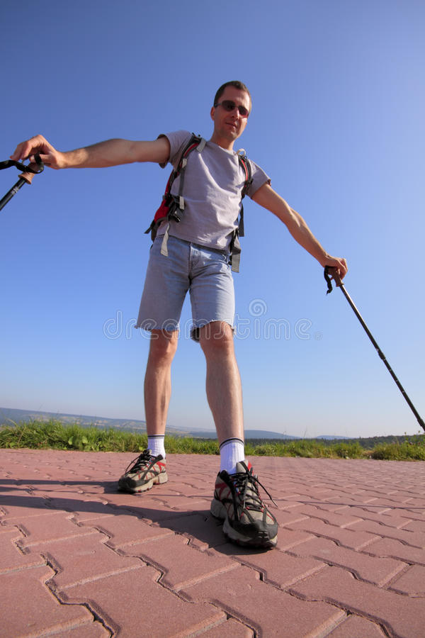 Standing hiker royalty free stock images