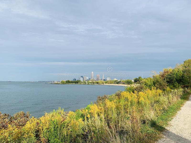 Lake Erie with downtown Cleveland, Ohio in the distance stock photos