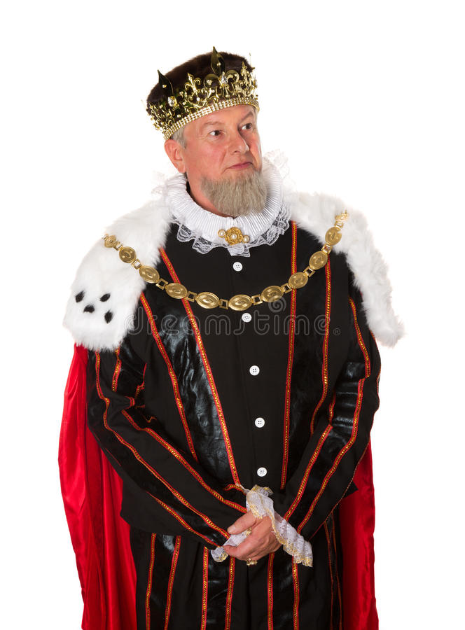 Standing king isolated. Isolated medieval king standing for an official portrait stock photography