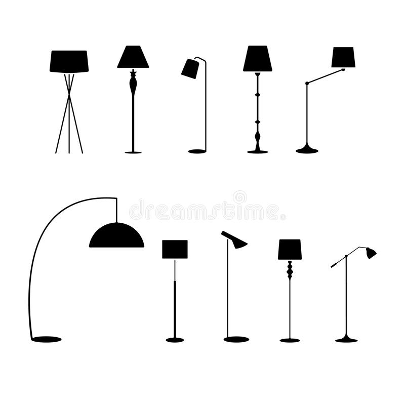 Standing lampshade icon set. Vector illustration of fashion collection electric floor lamp pictogram on white. Standing lampshade icon set. Vector illustration vector illustration