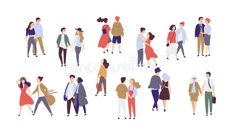 Standing lonely single girl surrounded by happy romantic couples walking together or pairs of men and women on date. Flat cartoon characters isolated on white stock illustration