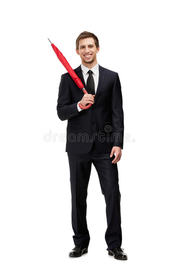 Standing Man With Closed Umbrella Royalty Free Stock Photo