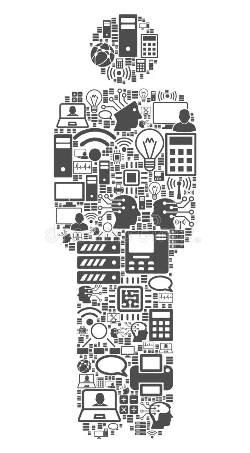 Standing Man Mosaic Icon for BigData and Computing. Standing Man collage icon done for bigdata and computing purposes. Vector standing man mosaics are composed stock illustration
