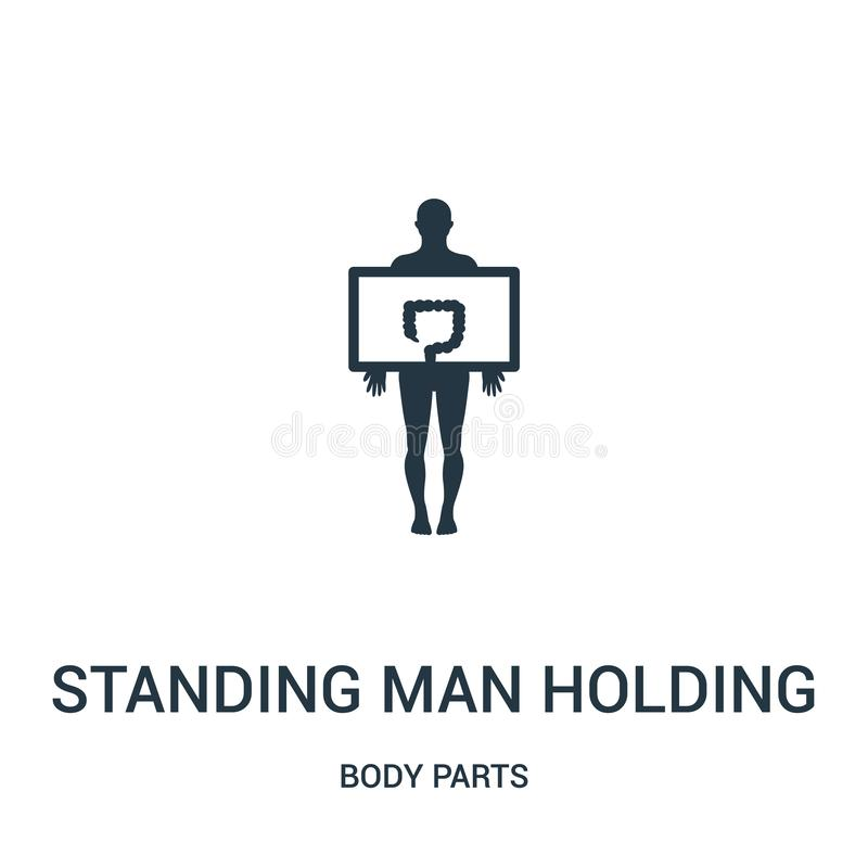 standing man holding a large intestines image icon vector from body parts collection. Thin line standing man holding a large vector illustration