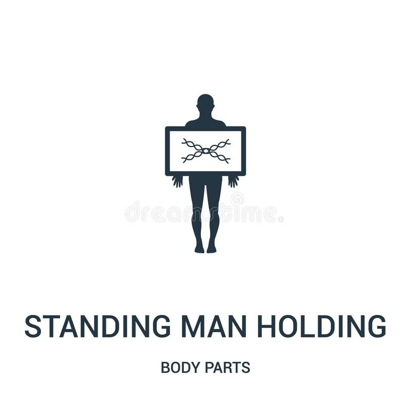 standing man holding an x rays image icon vector from body parts collection. Thin line standing man holding an x rays image royalty free illustration