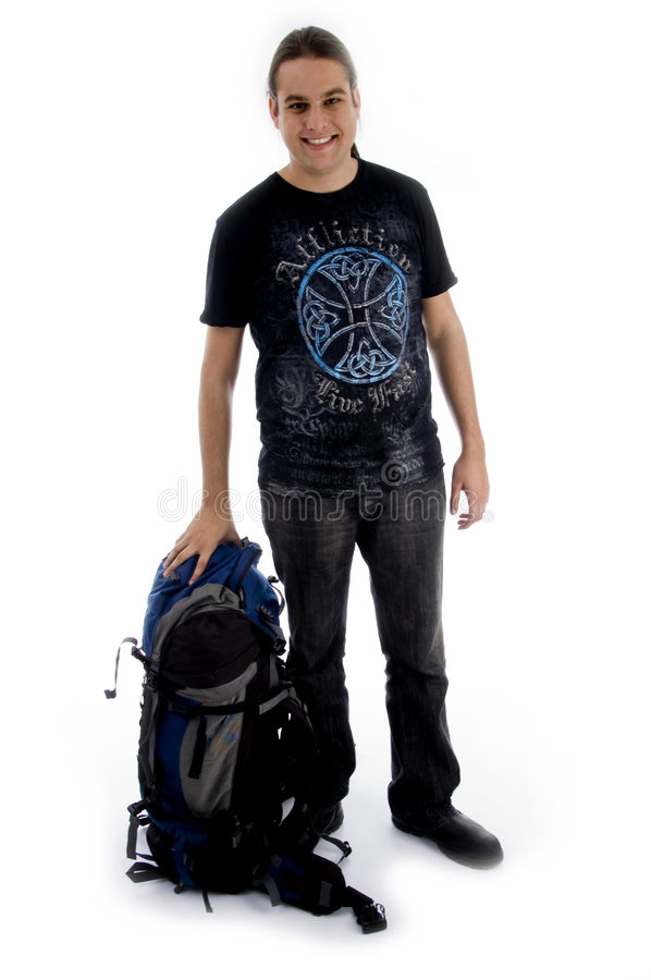 Standing man with luggage stock image