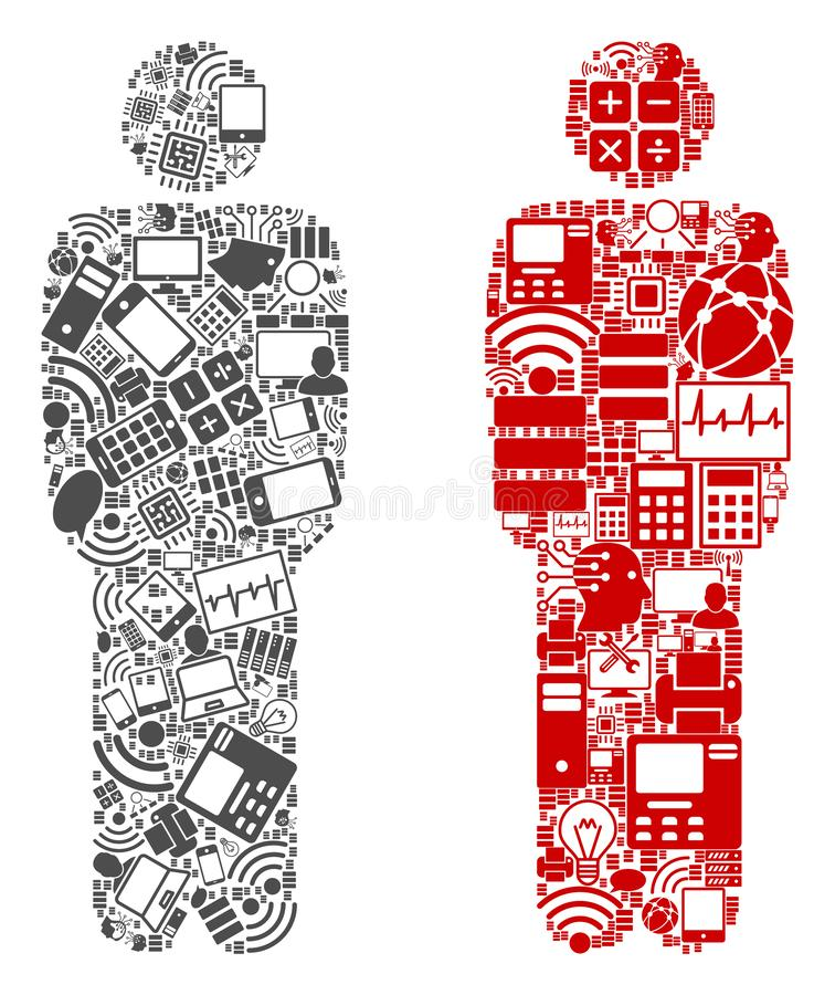 Standing Man Mosaic Icons for BigData. Standing Man composition icons constructed for bigdata illustrations. Vector standing man mosaics are united from computer vector illustration