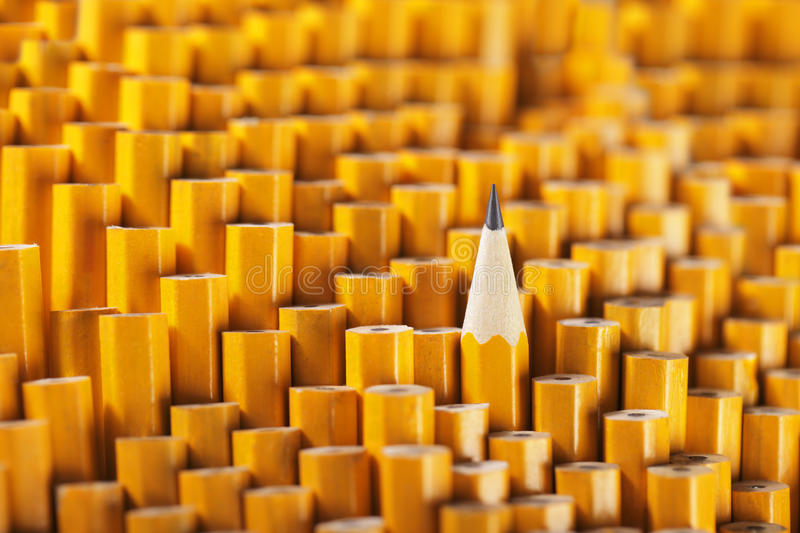 Standing out. One sharpened pencil among many blunt ones stock photography