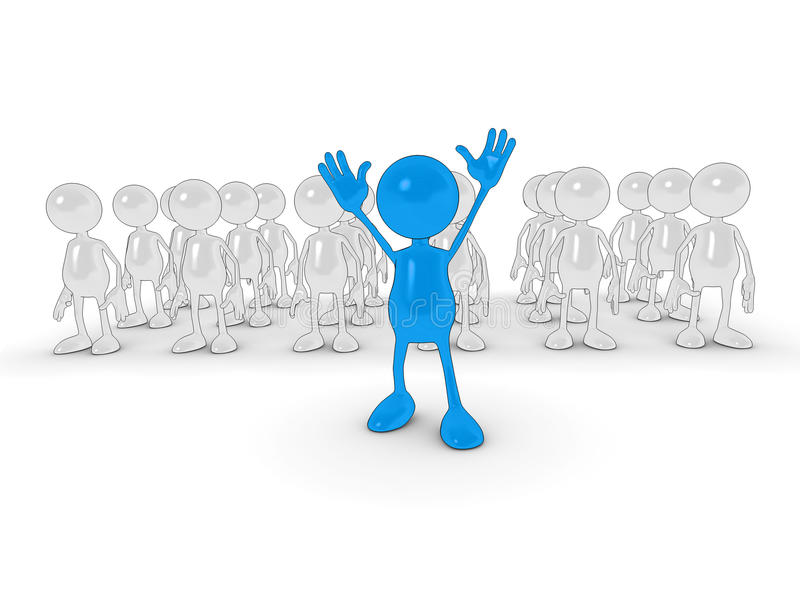 Standing out from the crowd. 3d cartoon character Standing out from the crowd royalty free illustration