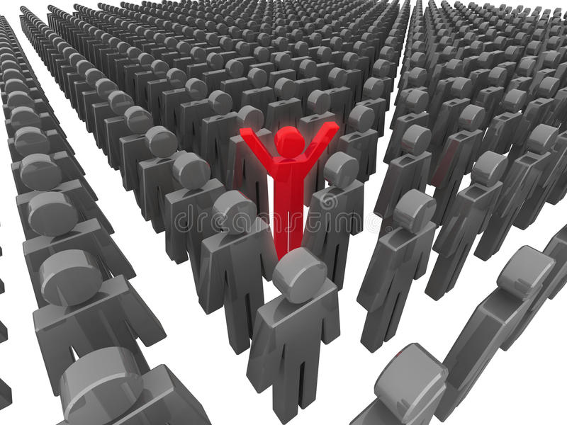 Standing out from the crowd stock illustration