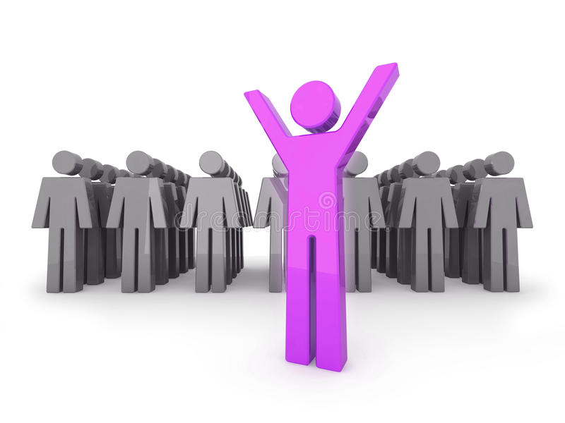 Standing out from the crowd. 3D illustration royalty free illustration