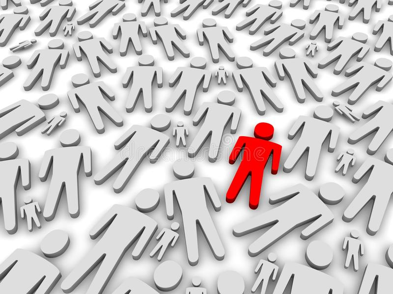 Standing out of the crowd. 3d rendered illustration stock illustration