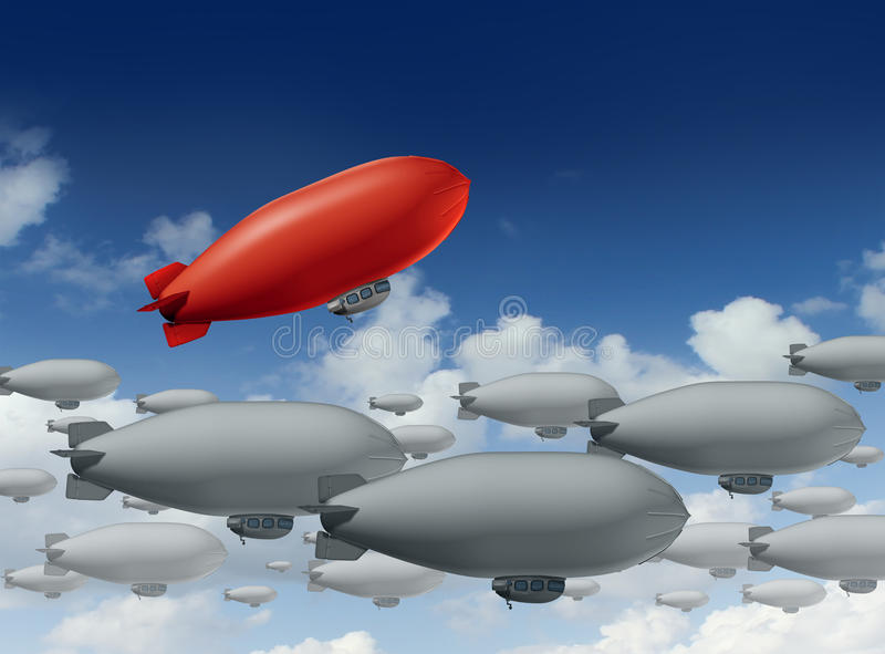 Standing Out From The Crowd. With a group of grey blimps going in a straight direction and a leading red blimp going up as a special visionary individual with a vector illustration