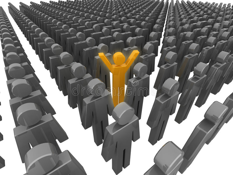 Standing out from the crowd. 3D illustration stock illustration