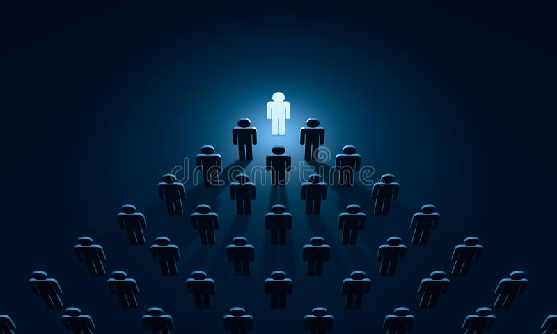 Insight symbolic figures of people. 3D illustration rendering. Standing Out from the Crowd. Available in high-resolution and several sizes to fit the needs of vector illustration