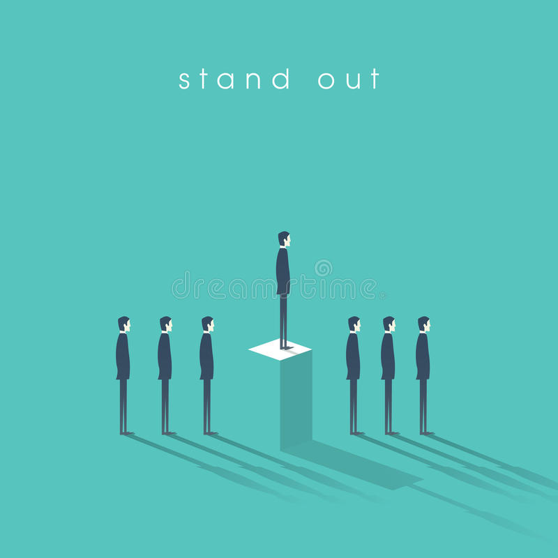Standing out from the crowd business concept with businessmen in line. Talent or special skills symbol. Eps10 vector illustration vector illustration