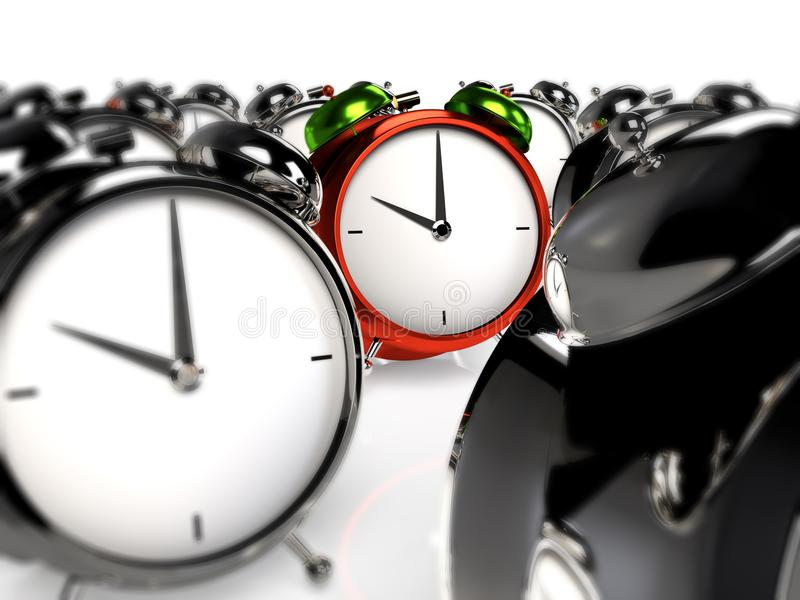 Standing out of the crowd. Colorful alarmclock among the grey alarmclocks. 3D rendering vector illustration
