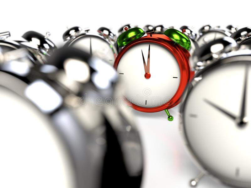 Standing out of the crowd. Colorful alarmclock among the grey alarmclocks. 3D rendering royalty free illustration