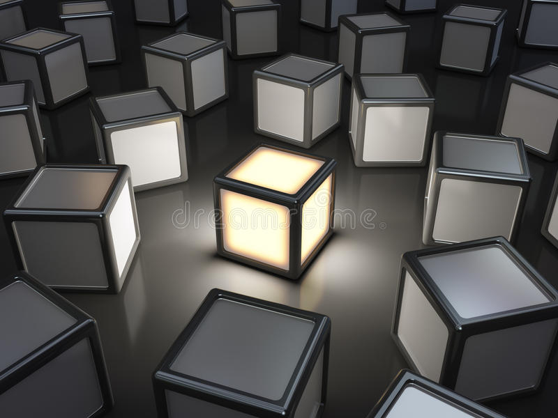 Standing out from the crowd. Concept, 3D cubes scattered vector illustration
