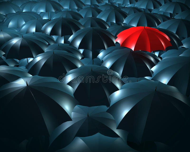 Standing out from the crowd concept. With umbrellas vector illustration